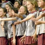Primary school students of St Carthages Lismore compete in the Lismore Musical Festival Society Eisteddfod at Lismore Workers Club. Photo: Jay Cronan